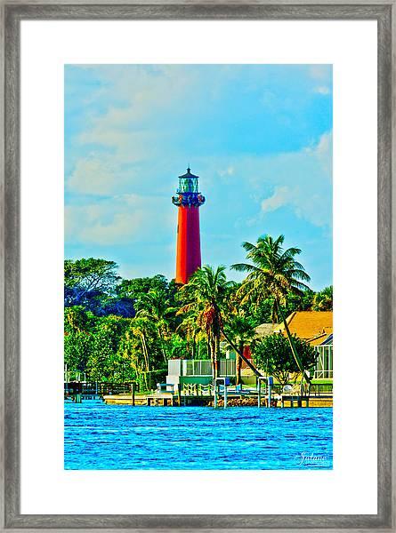 Jupiter Lighthouse Winter Framed Print