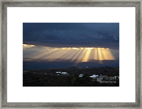 Just After Sunrise With Hot Air Balloon From Jerome Arizona Framed Print
