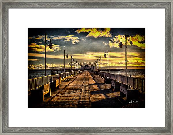 Just The Pier In Long Beach Framed Print