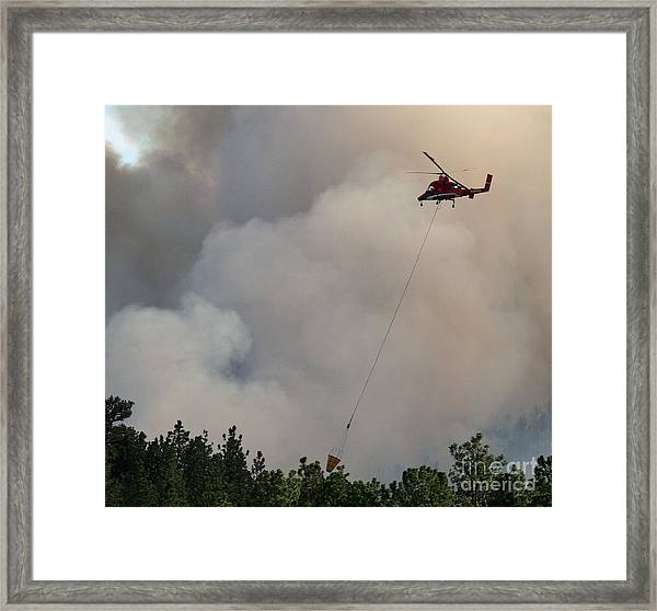 K-max Helicopter On Myrtle Fire Framed Print