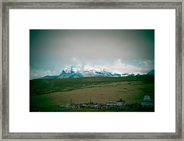 Kailas Mountain Home Of The Lord Shiva View From Manasarovar Framed Print