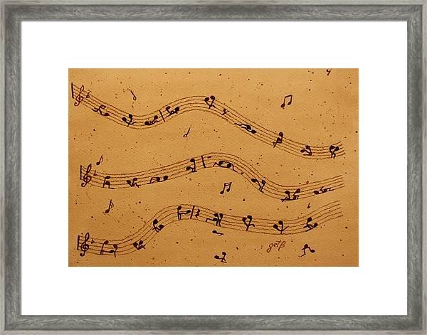 Kamasutra Music Coffee Painting Framed Print