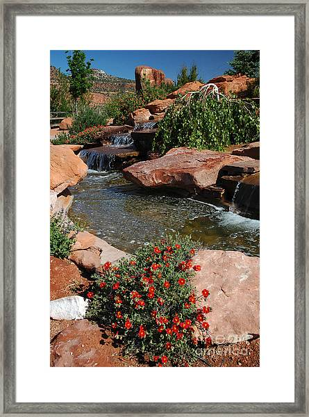 217p Kanab Ut Water Feature Framed Print