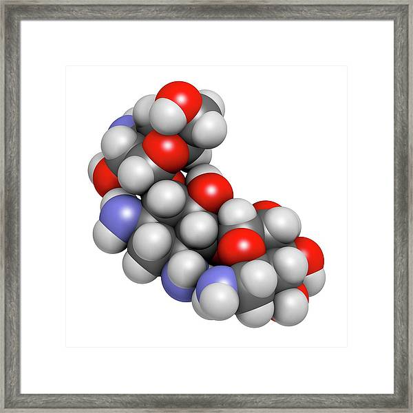 Kanamycin Antibiotic Drug Molecule Framed Print by Molekuul