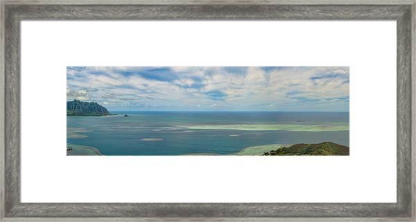 Kaneohe Sandbar Panorama Framed Print