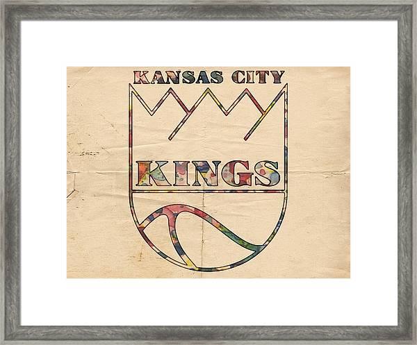 Kansas City Kings Retro Poster Framed Print