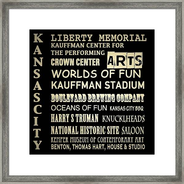 Kansas City Famous Landmarks Framed Print