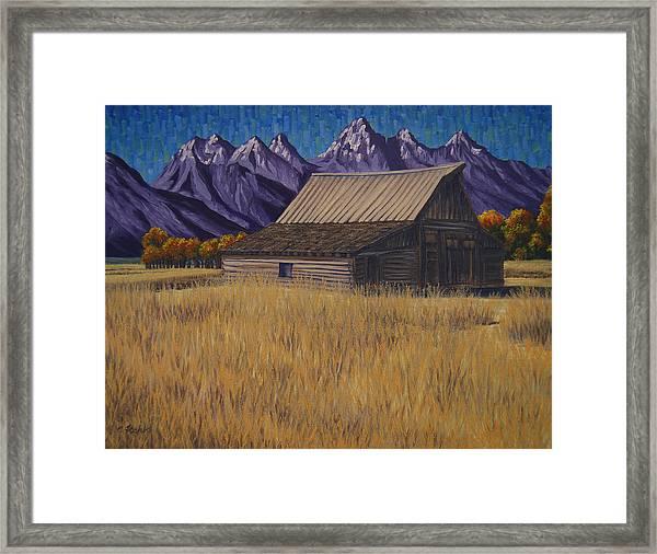 Karen's Teton Barn Framed Print
