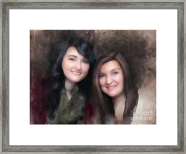 Katie And Sara Framed Print