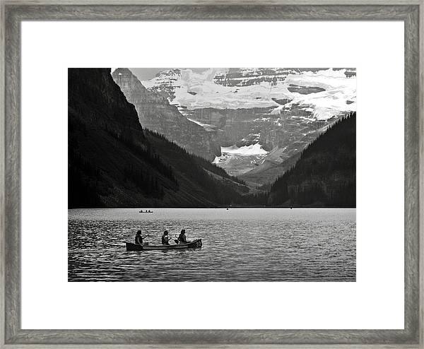 Kayak On Lake Louise Framed Print