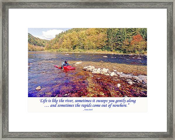 Kayaker Running A River Framed Print