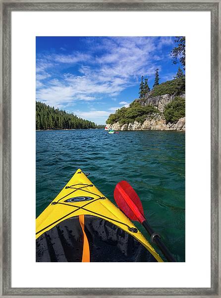 Kayaking In Emerald Bay At Fannette Framed Print by Russ Bishop
