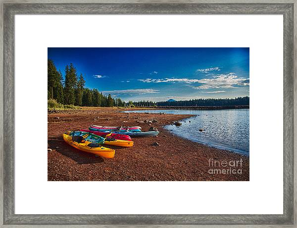 Kayaking On Howard Prairie Lake In Oregon Framed Print