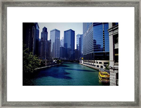 Kayaks On The Chicago River Framed Print