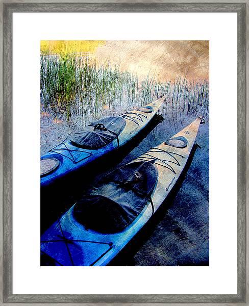 Kayaks Resting W Metal Framed Print