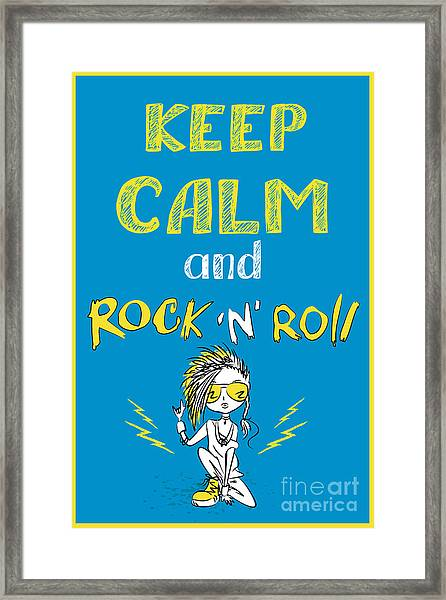 Keep Calm And Rock And Roll , Hand Framed Print
