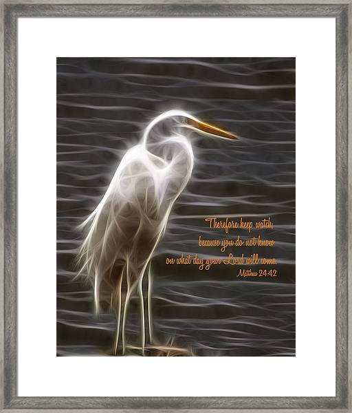 Keep Watching Framed Print