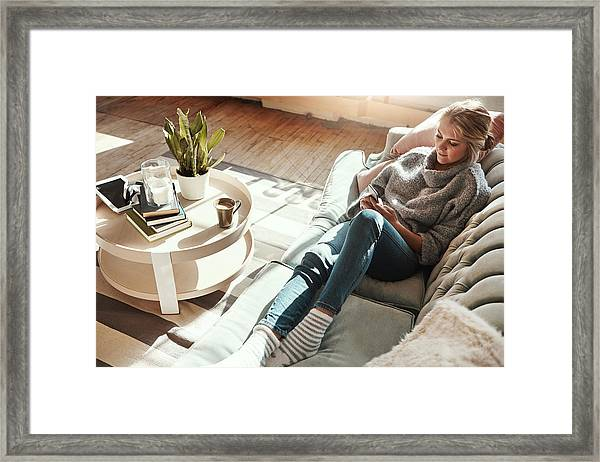 Keeping Updated On Social Media Updates Framed Print by Gradyreese
