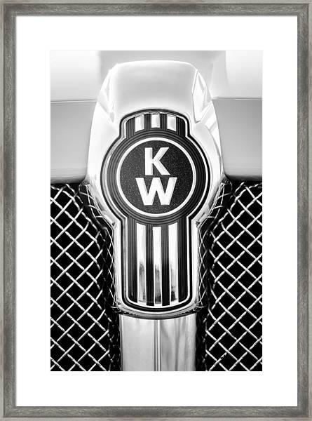 Kenworth Truck Emblem -1196bw Framed Print