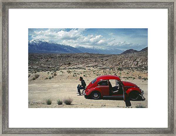 Kevin And The Red Bug Framed Print