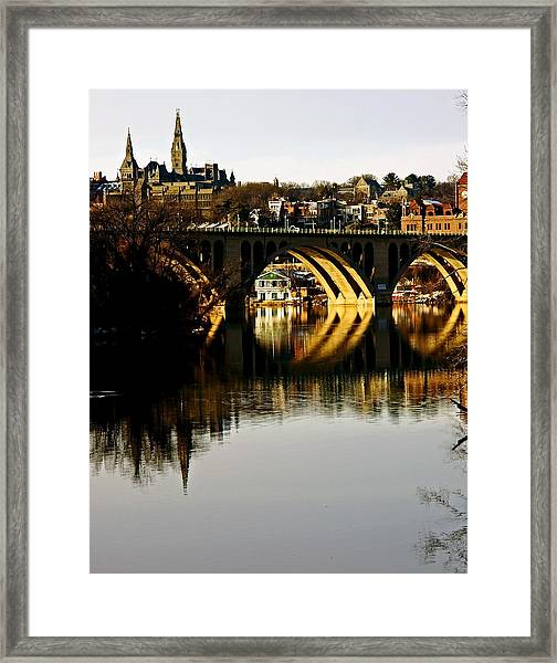 Key Bridge And Georgetown  Framed Print