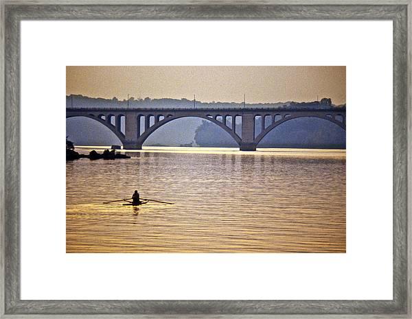 Key Bridge Rower Framed Print