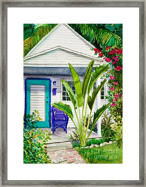 Key West Cottage Watercolor Framed Print