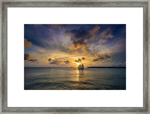 Key West Florida Sunset Mallory Square Framed Print