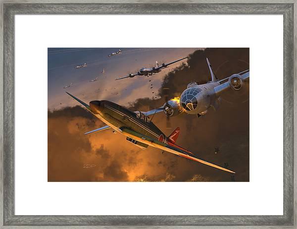 Ki-61 Hien Vs. B-29s Framed Print