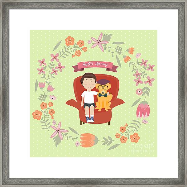 Kid With Golden Retriever Dog On The Framed Print