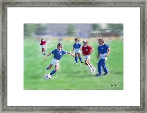 Kids Soccer Game Framed Print