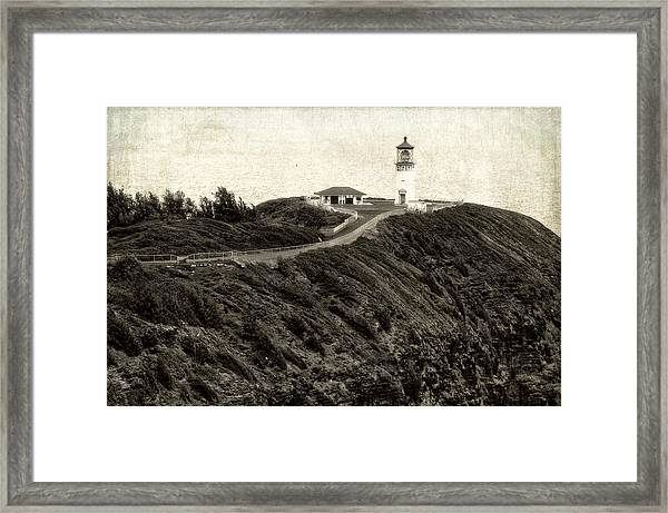 Kilauea Lighthouse Vintage Look And Feel Framed Print