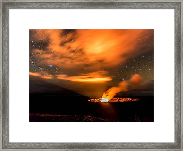 Kilauea's Glow Framed Print by Robert Yone
