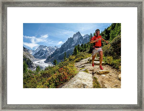 Kilian Jornet Training Above Montenvers Framed Print