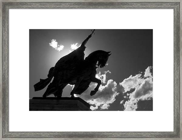 King Horseback Statue Black White Framed Print