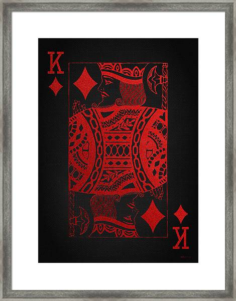 King Of Diamonds In Red On Black Canvas   Framed Print