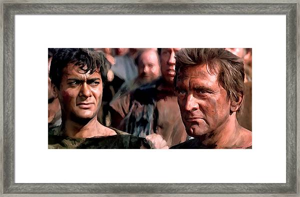 Kirk Douglas And Tony Curtis In The Film Spartacus Framed Print