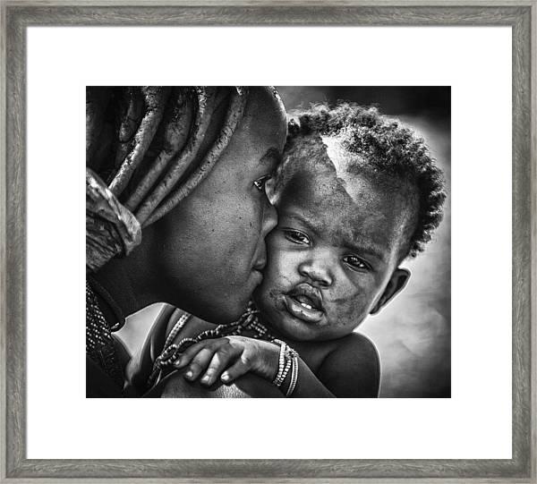 Kiss From Beautiful Himba Mom Framed Print by Pavol Stranak