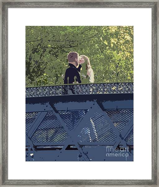 Kissing On A Bridge Framed Print