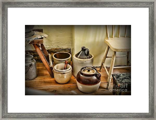 Kitchen Old Stoneware Framed Print