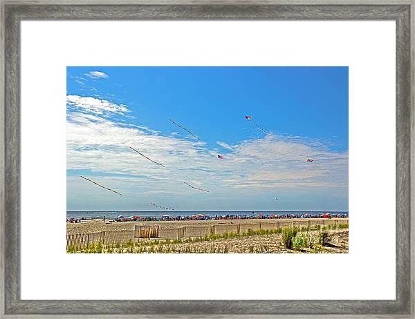 Kites Flying Over The Sand Framed Print