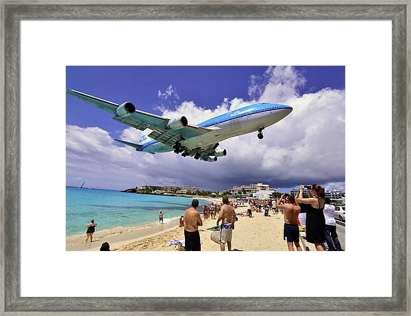 Klm Landing At St Maarten 2  Framed Print