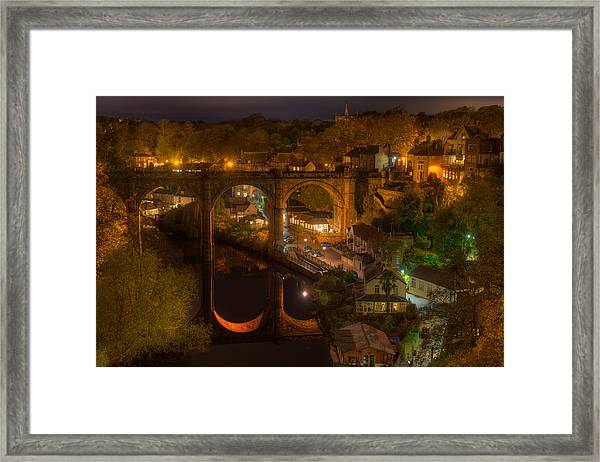 Knaresbrough Viaduct At Night Reflection Framed Print