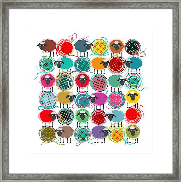 Knitting Yarn Balls And Sheep Abstract Framed Print