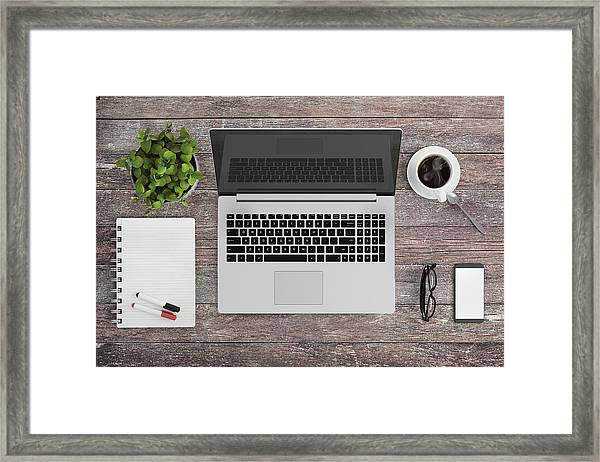 Knolling Work Table View With A Laptop Framed Print by ExperienceInteriors