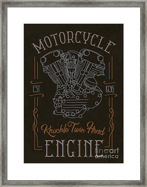 Knuckle Twin Head Motorcycle Engine Framed Print