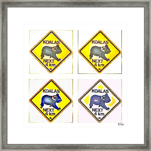 Koalas Road Sign Pop Art Framed Print