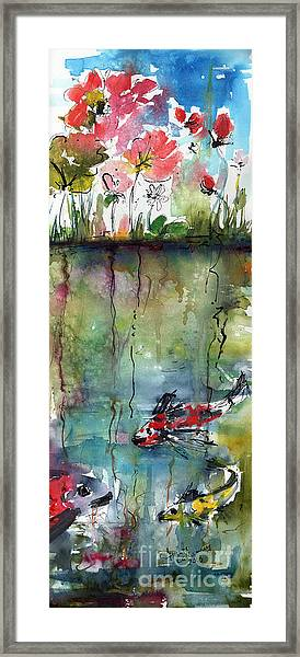 Koi Fish Pond Expressive Watercolor And Ink Framed Print