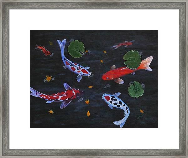 Koi Fishes Original Acrylic Painting Framed Print