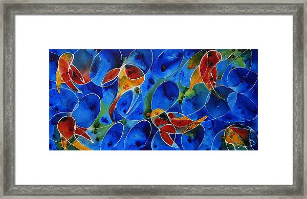 Koi Pond 2 - Liquid Fish Love Art Framed Print